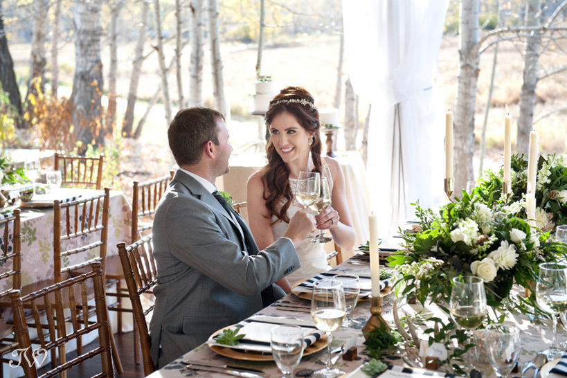 Bride & groom toast at their Meadow Muse wedding captured by Tara Whittaker Photography