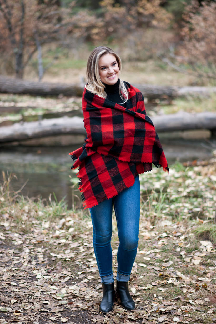 bride wears a colourful scarf during her Big Hill Springs engagement session