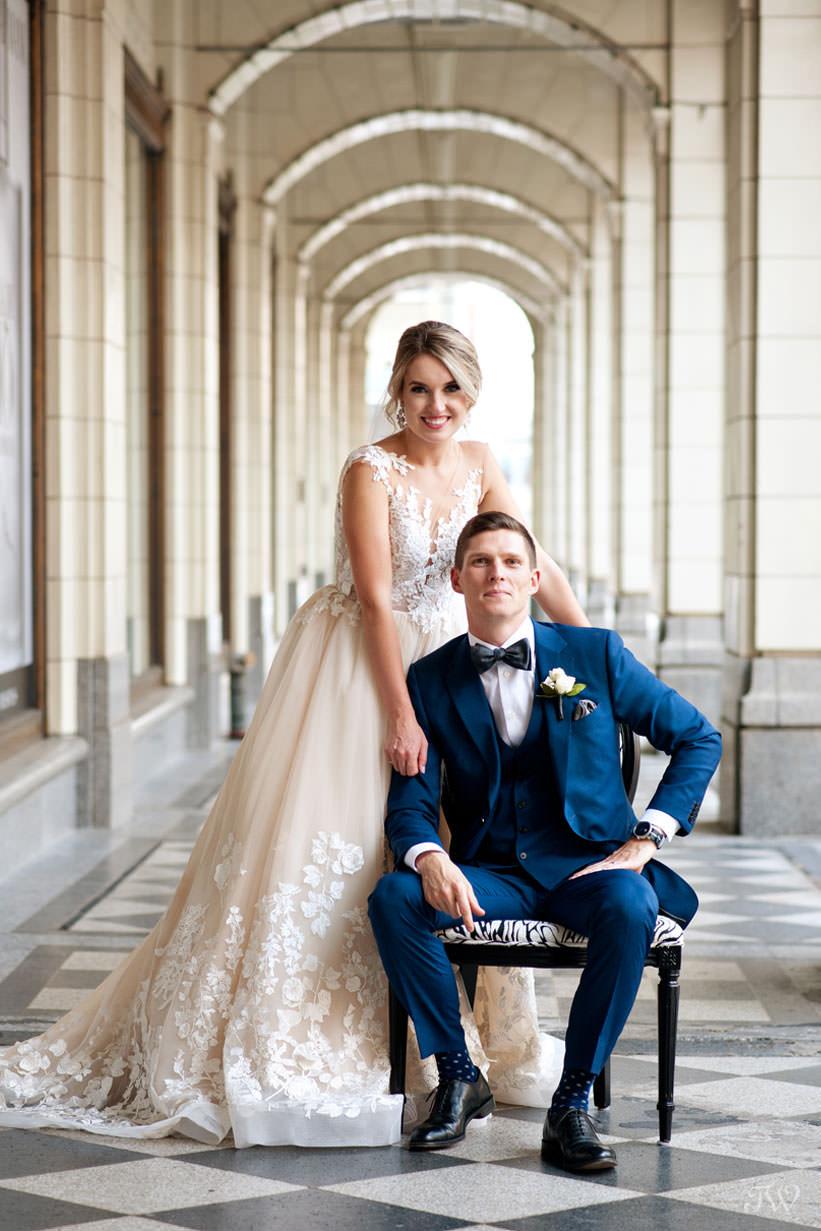 bride and groom at Hudson Bay captured by Calgary wedding photographer Tara Whittaker