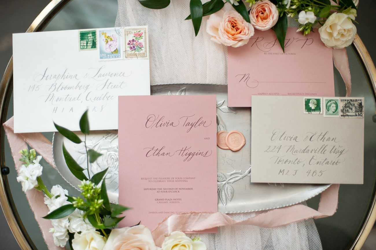 hand-lettered invitation suite captured by Tara Whittaker Photography