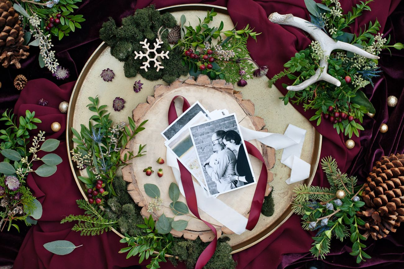 Winter flatlay for holiday mini sessions with Tara Whittaker Photography
