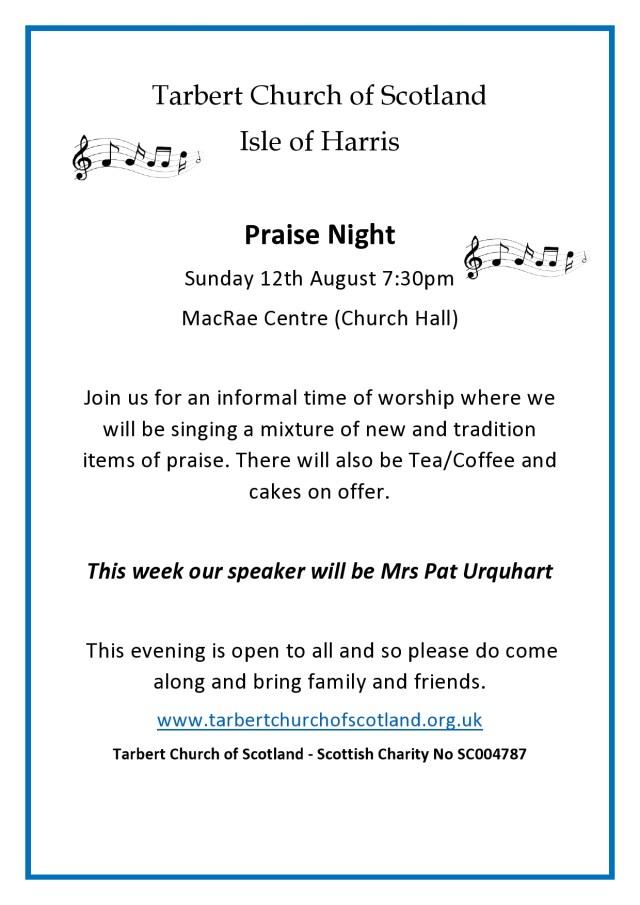 Praise Night Poster August 2018