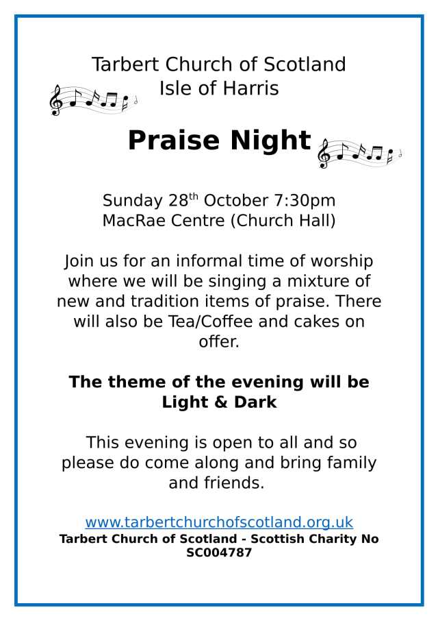 Praise Night Poster Oct 2018