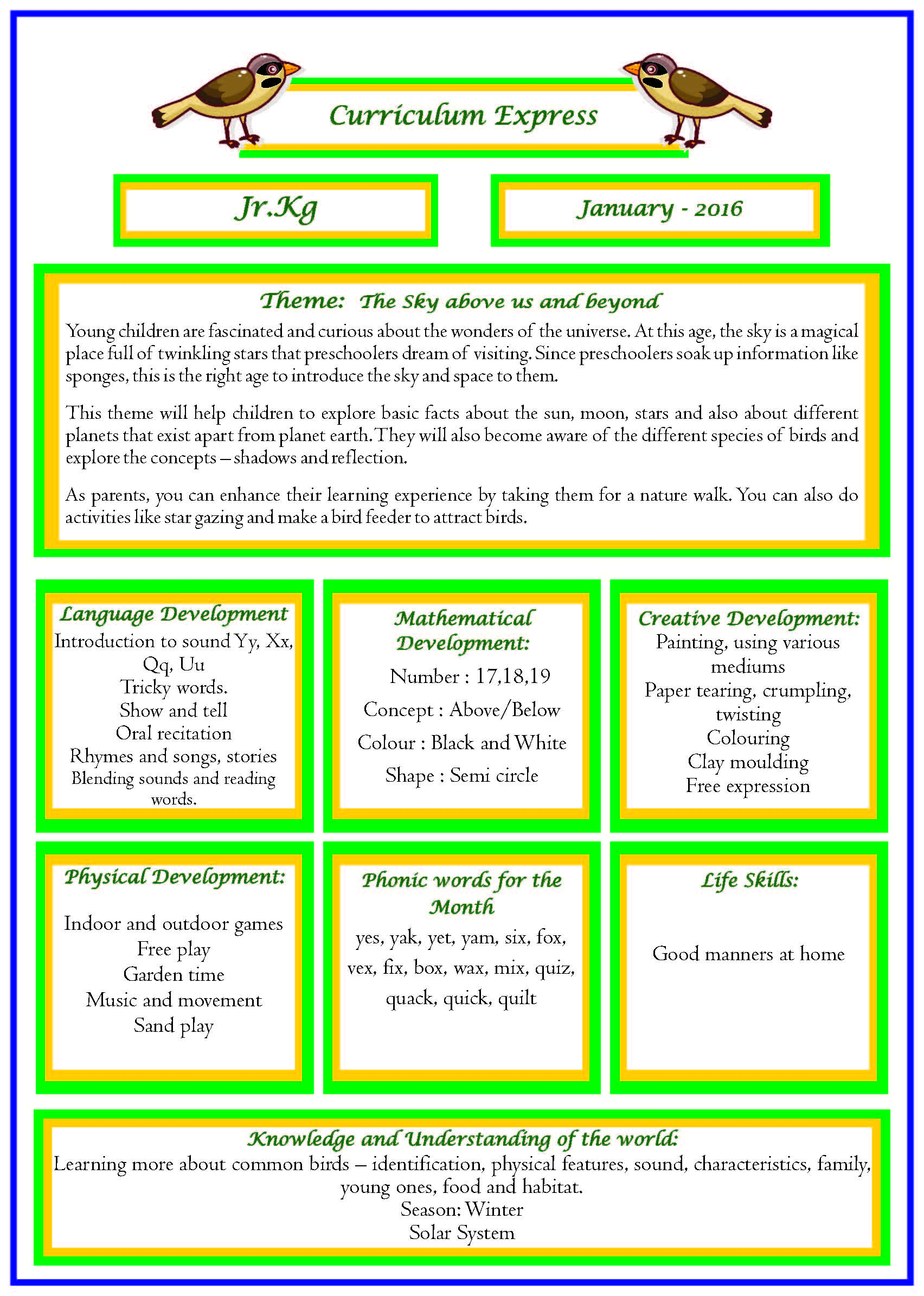 Curriculum Express For The Month Of January Jr