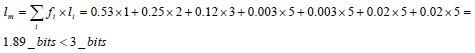 Longitud media del código resultante