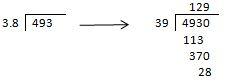 división con el punto en el divisor