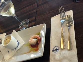 Clam Chowder, Shrimp Cocktail and Wine at Bluewater Avalon