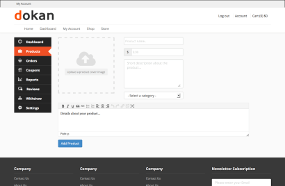Dokan Add New Product Page