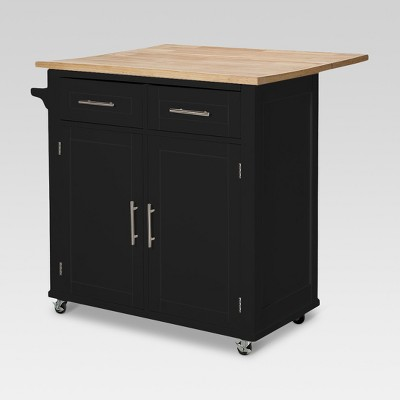 Large Kitchen Island with Wood Top and Storage  Black
