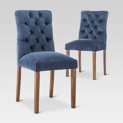 velvet tufted chair best lift recliner brookline dining chestnut finish