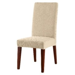 Chair Covers For Dining Chairs With Laptop Stand India Stretch Jacquard Damask Short Room Cover