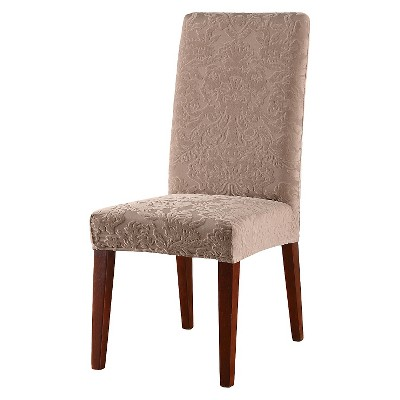 dunelm stretch chair covers multi seat folding chairs jacquard damask short dining room cover