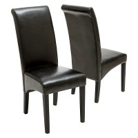 Morgan Bonded Leather Dining Chairs Wood (Set of 2 ...