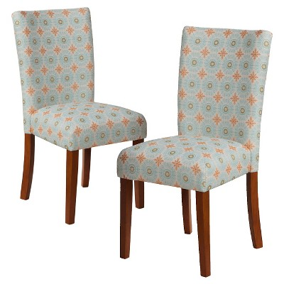 Blue Parsons Chair Parsons Pattern Dining Chair Wood Set Of 2 Homepop Ebay