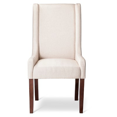 Wingback Dining Chairs Charlie Modern Wingback Swoop Arm Dining Chair Beige 1
