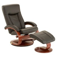 Top Grain Leather Swivel Recliner with Ottoman - Mac ...