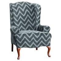 Plush Chevron Wing Chair Slipcover - Sure Fit | eBay