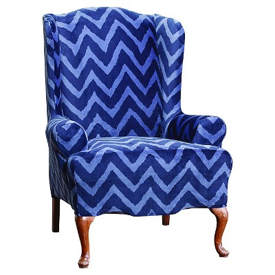 blue wingback chair covers xbox gaming plush chevron wing slipcover sure fit ebay