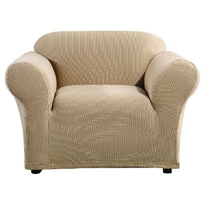 sure fit stretch stripe 2 piece sofa slipcover sand silver chesterfield ticking chair ebay