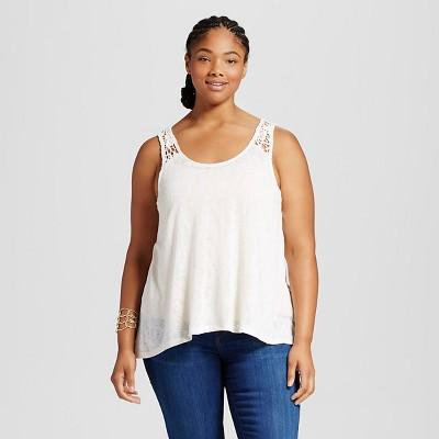 Women Size Lace Tank Top Cream Ivory 3x