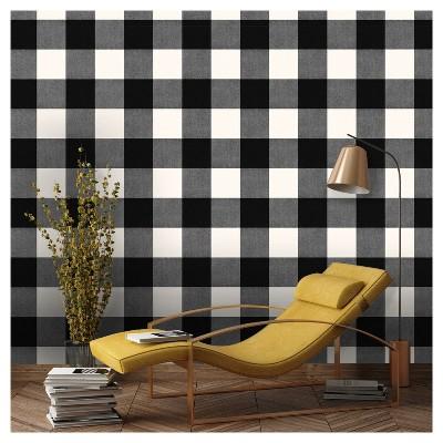 Devine Color Buffalo Plaid Peel  Stick Wallpaper Black