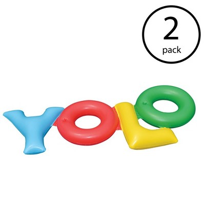Swimline Inflatable Yolo Swimming Pool Backyard Fun Raft Float Toy Tube (2 Pack)