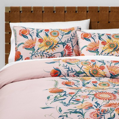 Placed Floral Duvet Cover & Pillow Sham Set Blush - Opalhouse™