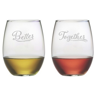 Susquehanna Glass® 2pc Better Together Stemless Wine Glasses