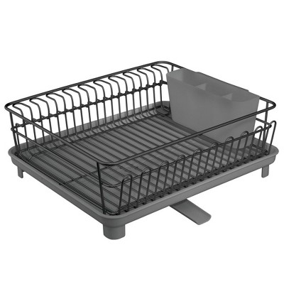 mdesign large kitchen dish drying rack with swivel spout 3 pieces black gray