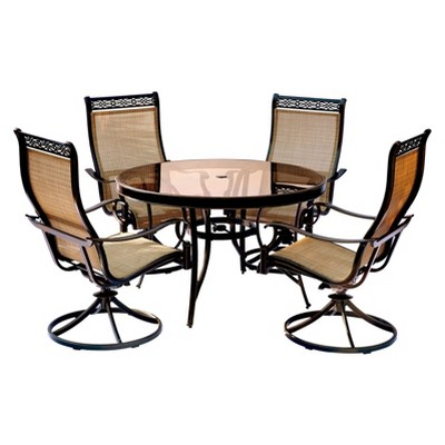 target sling chair tan dining table chairs for sale monaco 5pc round metal set w swivel hanover
