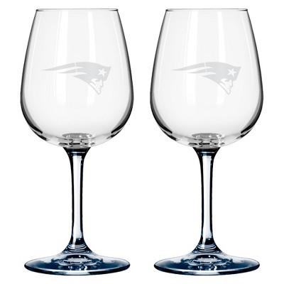 NFL Boelter Brands 2 Pack Wine Glass - 12 oz - New England Patriots