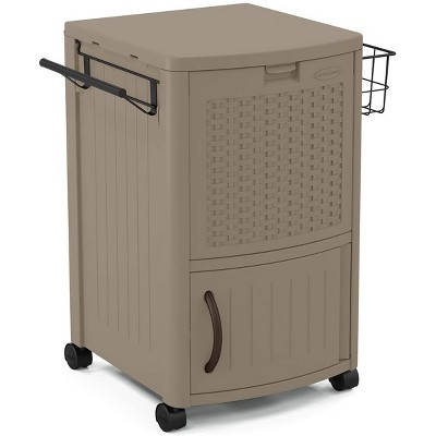 suncast portable outdoor patio prep serving station table and drink cooler with convenient storage for outside entertainment dark taupe