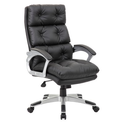 high back tufted chair comfortable chairs for gaming executive button leather black boss target