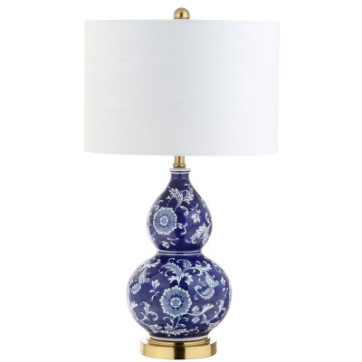 """27"""" Lee Ceramic Chinoiserie LED Table Lamp Blue (Includes Energy Efficient Light Bulb) - JONATHAN Y"""