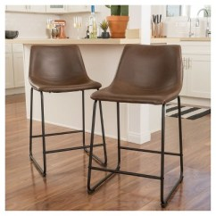 Leather Pub Chair Stability Ball Chairs 30 Cedric Faux Barstool Vintage Brown Set Of 2 Christopher Knight Home Target