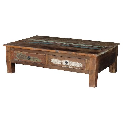 reclaimed wood coffee table and double drawers natural timbergirl