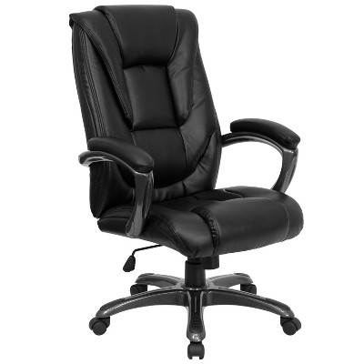 black leather office chair high back swing for child executive swivel flash furniture target