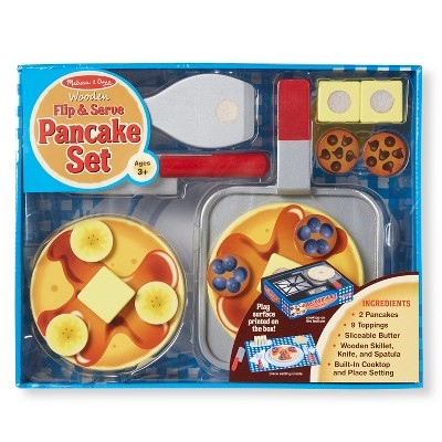 Melissa & Doug® Flip and Serve Pancake Set (19pc) - Wooden Breakfast Play Food