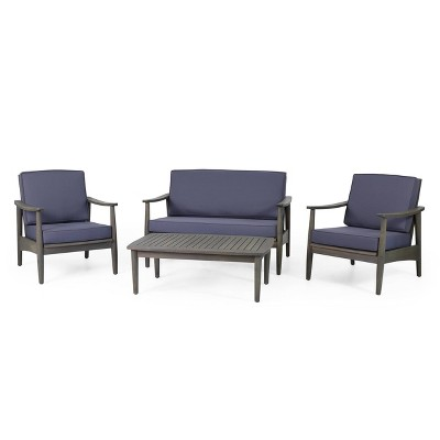 willowbrook patio acacia wood 4 seater chat set with coffee table gray dark gray christopher knight home