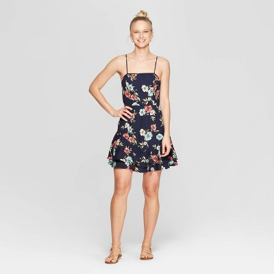 Women's Floral Print Strappy Square Neck Dress With Bottom Ruffle - Xhilaration™