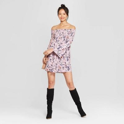 Women's Floral Print Long Sleeve Off the Shoulder Knit Dress - Xhilaration™
