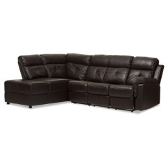 2 Piece Brown Leather Sofa Manufacturers In Malaysia Roland Modern And Contemporary Faux Sectional With Recliner Storage Chaise Dark Baxton Studio Target