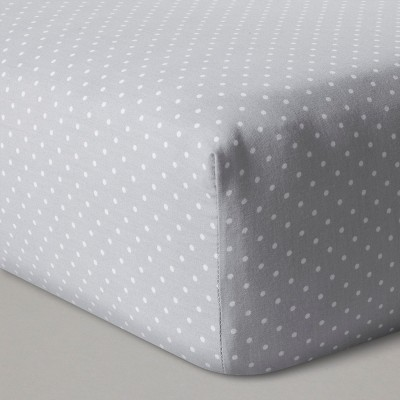 Fitted Crib Sheet Dots - Cloud Island™ Gray