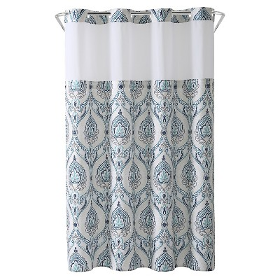 Hookless French Damask Shower Curtain with Liner Aqua