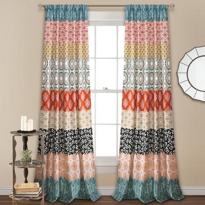 84 x52 bohemian stripe window curtain panel lush decor