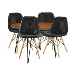 Eames Leather Chair Dining And A Half 5pc Round Hairpin Group With 4 Black Walnut Saracina Home