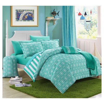 Nantes Geometric and Striped Printed Reversible Comforter Set - Chic Home Design®