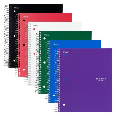 "6ct 5 Subject Spiral Notebook Wide Ruled 11"" x 8.5"" Classic Color - Five Star"