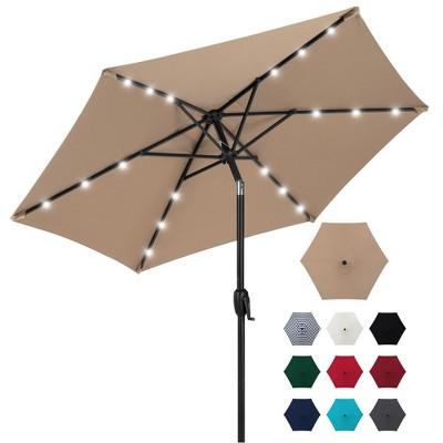 best choice products 7 5ft outdoor solar patio umbrella for deck pool w tilt crank led lights tan