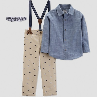 Toddler Boys' Whale Print with Suspenders Set - Just One You® made by carter's Brown